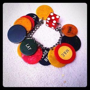 Vintage bakelite poker chip bracelet